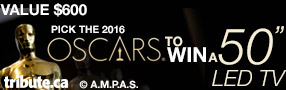 """Predict the Oscar Winners for Your Chance to Win A 50"""" LED TV valued at $600 Poster"""
